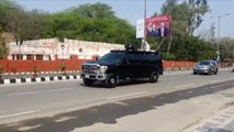 US President Donald Trump's cavalcade reaches Kheria airport in Agra