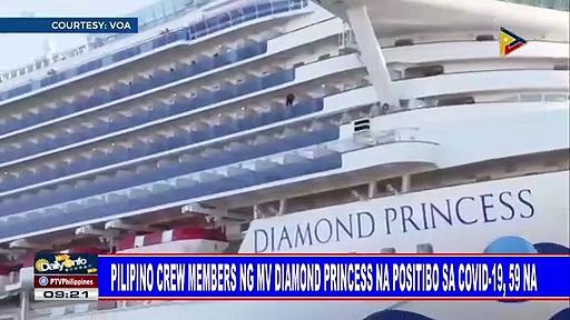 Filipino crew members ng MV Diamond Princess na positibo sa COVID-19, 59 na