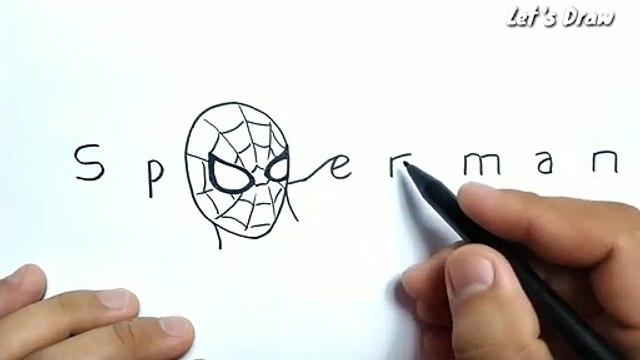 How to turn words SPIDERMAN into cartoon spiderman avengers marvel
