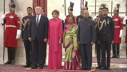 President Kovind and US President Donald Trump interact with guests at Rashtrapati Bhavan