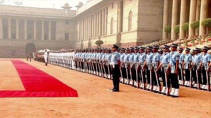 US President Donald Trump accorded ceremonial reception at Rashtrapati Bhavan in New Delhi, India