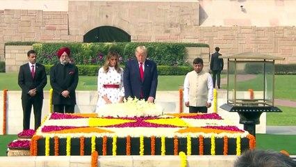 US President Donald Trump, First Lady Melania Trump Visit Raj Ghat to pay respect to Mahatma Gandhi