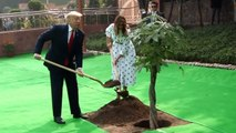 US President Donald Trump & First Lady Melania Trump Planting a Tree at Rajghat