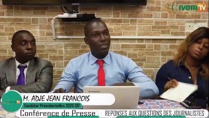 Présidentielle 2020: 2ème partie de la conférence de presse du candidat ADJE Jean-François