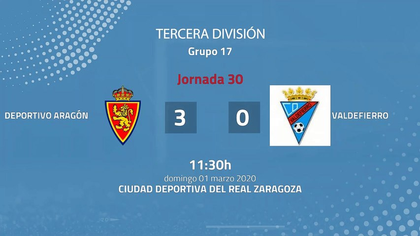 Resumen partido entre Deportivo Aragón y Valdefierro Jornada 30 Tercera División