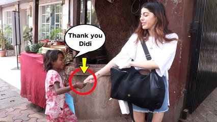 Beggar Asking For Food to Alaia Furniturewalla as she was spotted At Prithvi cafe in Juhu