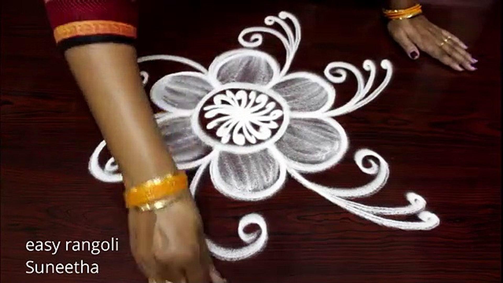 Beginners rangoli designs    Free hand flower kolam    Latest daily routine muggulu
