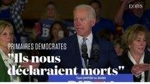 """Le vibrant discours de Joe Biden, de retour à l'issue du """"Super Tuesday"""""""