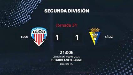 Resumen partido entre Lugo y Cádiz Jornada 31 Segunda División