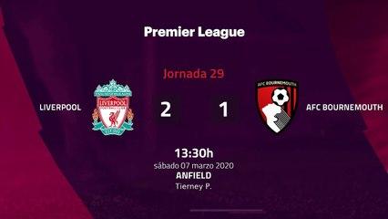 Resumen partido entre Liverpool y AFC Bournemouth Jornada 29 Premier League