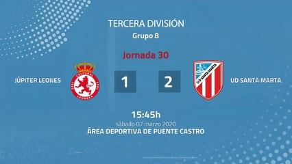 Resumen partido entre Júpiter Leones y UD Santa Marta Jornada 30 Tercera División