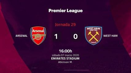 Resumen partido entre Arsenal y West Ham Jornada 29 Premier League