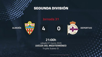 Resumen partido entre Almería y Deportivo Jornada 31 Segunda División