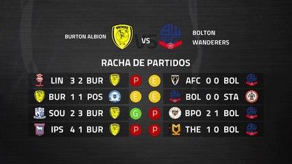 Previa partido entre Burton Albion y Bolton Wanderers Jornada 13 League One