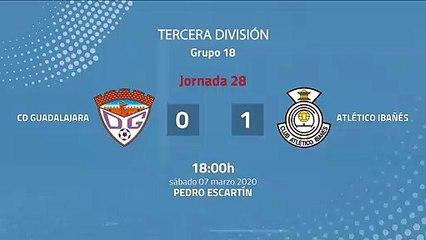 Resumen partido entre CD Guadalajara y Atlético Ibañés Jornada 28 Tercera División