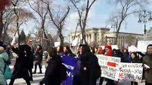 International Women's Day: Feminists march through Kazakh city to call for equality