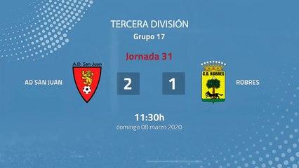 Resumen partido entre AD San Juan y Robres Jornada 31 Tercera División