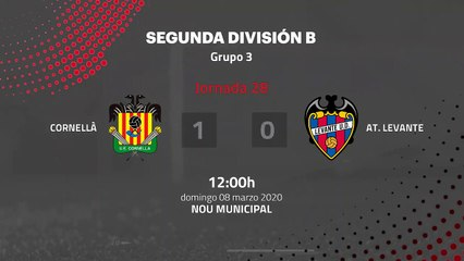Resumen partido entre Cornellà y At. Levante Jornada 28 Segunda División B