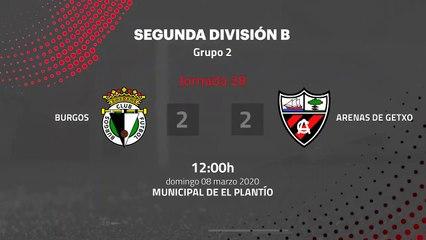 Resumen partido entre Burgos y Arenas de Getxo Jornada 28 Segunda División B