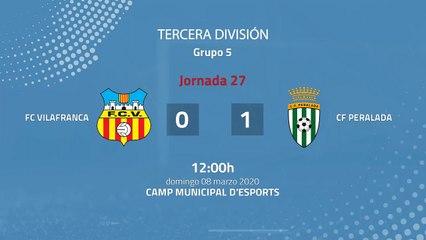 Resumen partido entre FC Vilafranca y CF Peralada Jornada 27 Tercera División