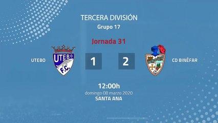 Resumen partido entre Utebo y CD Binéfar Jornada 31 Tercera División