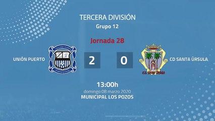 Resumen partido entre Unión Puerto y CD Santa Úrsula Jornada 28 Tercera División