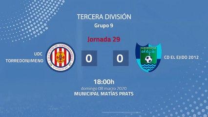 Resumen partido entre UDC Torredonjimeno y CD El Ejido 2012 Jornada 29 Tercera División