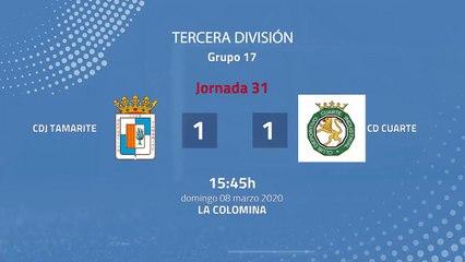 Resumen partido entre CDJ Tamarite y CD Cuarte Jornada 31 Tercera División