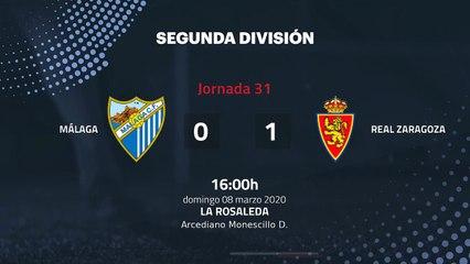 Resumen partido entre Málaga y Real Zaragoza Jornada 31 Segunda División