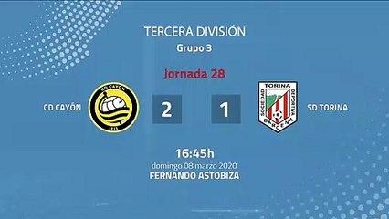 Resumen partido entre CD Cayón y SD Torina Jornada 28 Tercera División