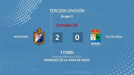 Resumen partido entre Mosconia y CD Colunga Jornada 28 Tercera División