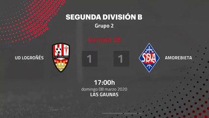 Resumen partido entre UD Logroñés y Amorebieta Jornada 28 Segunda División B