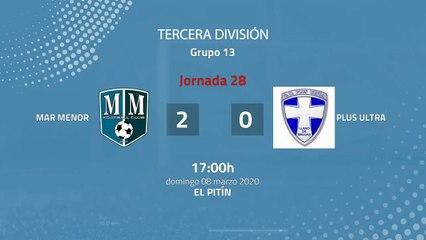 Resumen partido entre Mar Menor y Plus Ultra Jornada 28 Tercera División