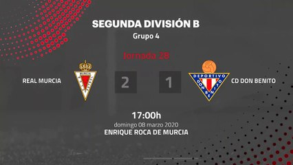 Resumen partido entre Real Murcia y CD Don Benito Jornada 28 Segunda División B