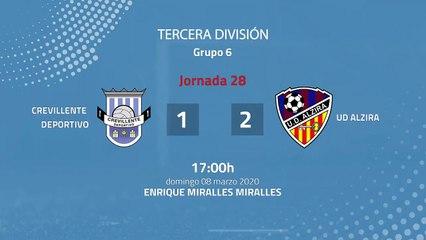 Resumen partido entre Crevillente Deportivo y UD Alzira Jornada 28 Tercera División