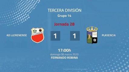 Resumen partido entre AD Llerenense y Plasencia Jornada 28 Tercera División