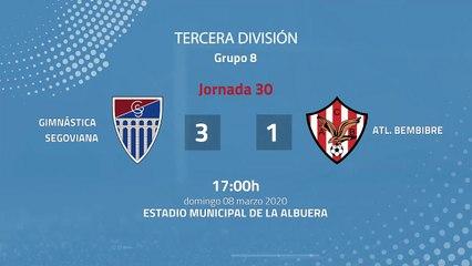 Resumen partido entre Gimnástica Segoviana y Atl. Bembibre Jornada 30 Tercera División