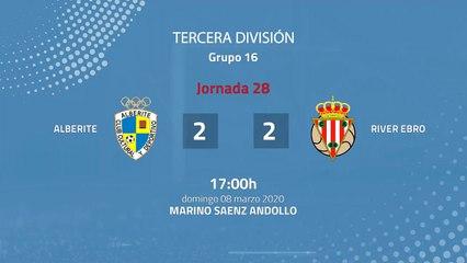 Resumen partido entre Alberite y  River Ebro Jornada 28 Tercera División