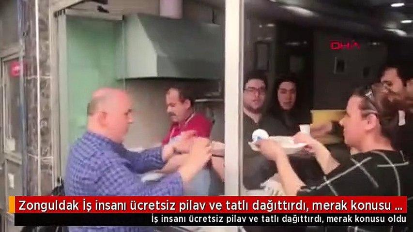 Zonguldak İş insanı ücretsiz pilav ve tatlı dağıttırdı, merak konusu oldu