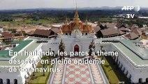 Coronavirus: vues aériennes des parcs à thème désertés de Pattaya en Thaïlande