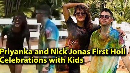 Wow !Priyanka Chopra DRUNK and Nick Jonas playing FUN Holi with Kids