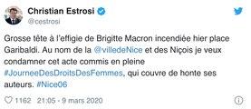 Nice : l'effigie de Brigitte macron en feu lors d'un carnaval indépendant