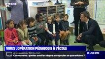 Virus: Jean-Michel Blanquer et Olivier Véran apprennent aux enfants à se laver les mains