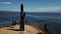Santa Cruz Surfer statue given mask to raise coronavirus awareness