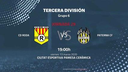 Previa partido entre CD Roda y Paterna CF Jornada 29 Tercera División