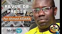 ZikFM - Revue de presse Ahmed Aidara du Vendredi 13 Mars 2020