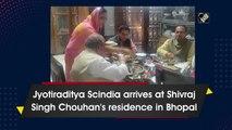 Jyotiraditya Scindia arrives at Shivraj Singh Chouhan's residence in Bhopal