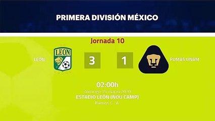 Resumen partido entre León y Pumas UNAM Jornada 10 Liga MX - Clausura