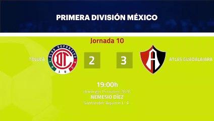 Resumen partido entre Toluca y Atlas Guadalajara Jornada 10 Liga MX - Clausura