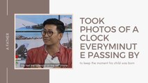 A father took photos of a clock every minute passing by to keep the moment his child was born